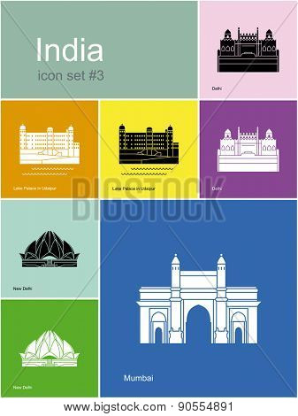 Landmarks of India. Set of color icons in Metro style. Raster illustration.