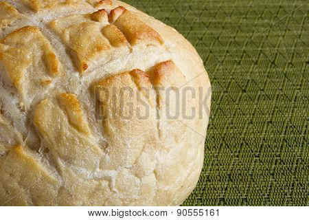 Round Bread On Kitchen Napkin