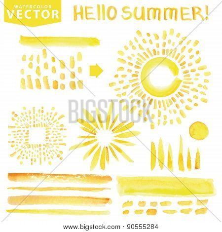 Watercolor line brushes,burst,rays.Yellow.Hello Summer