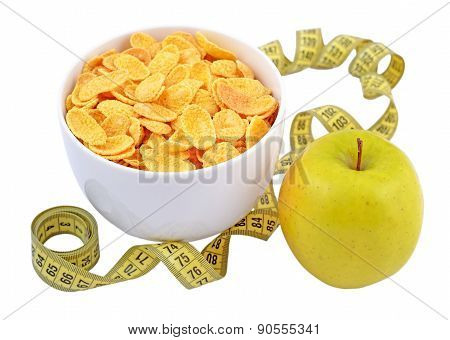 Green Apple, Bowl Of Cornflakes And Measuring Tape Isolated On White.