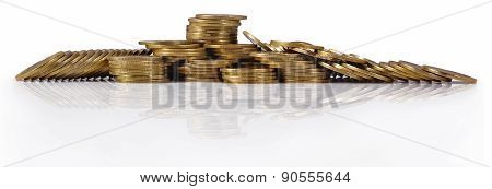 Piles Of Gold Coins On A White