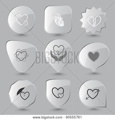 Heart shape set. Raster glass buttons.