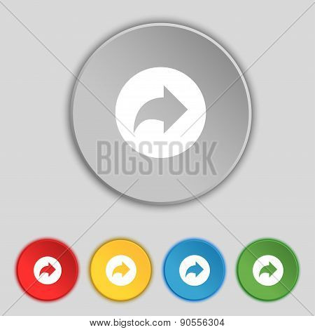 Arrow Right, Next Icon Sign. Symbol On Five Flat Buttons. Vector