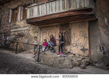 TBILISI, GEORGIA - MAY 02, 2015: Children play in the streets of the Old Town