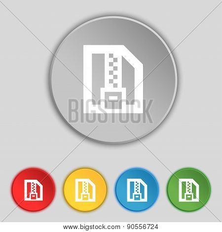 Archive File, Download Compressed, Zip Zipped Icon Sign. Symbol On Five Flat Buttons. Vector