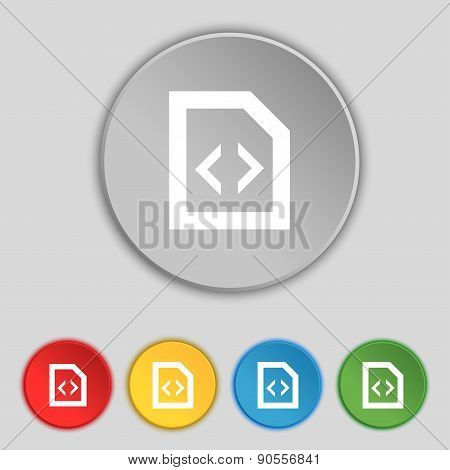 Programming Code Icon Sign. Symbol On Five Flat Buttons. Vector