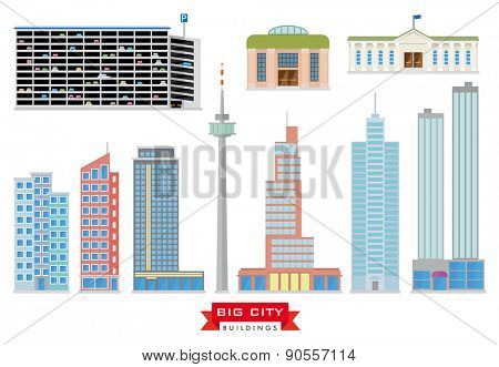 Big City Buildings Vector Set. Collection of 10 flat design buildings typical of big cities and the urban area.