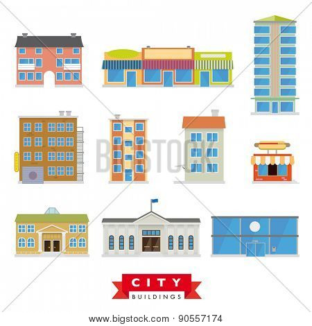 City Buildings Vector Set. Collection of 10 flat design buildings typical of the citiy and urban area.
