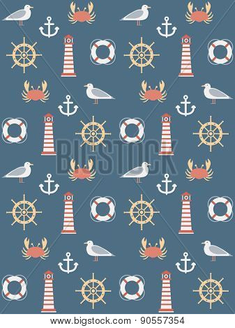 seamless pattern with marine motive
