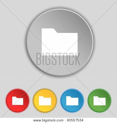 Document Folder Icon Sign. Symbol On Five Flat Buttons. Vector