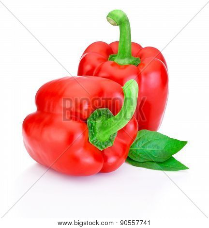 Two Red Peppers With Green Leaves Isolated On White Background