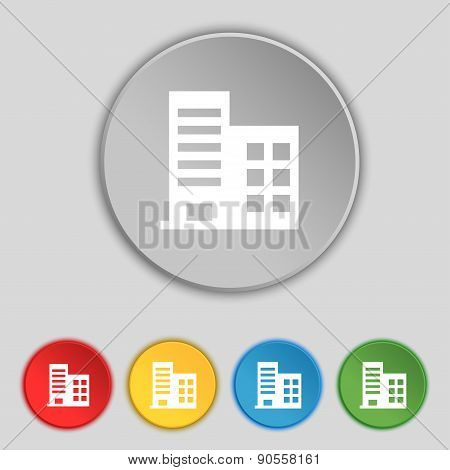High-rise Commercial Buildings And Residential Apartments Icon Sign. Symbol On Five Flat Buttons. Ve