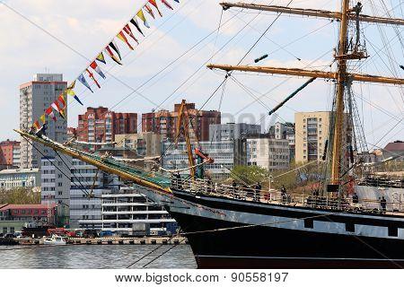 sailing ship in the port of Vladivostok