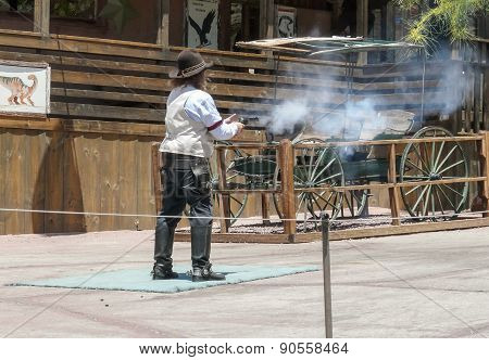 Calico Ghost Town - Cowboy Shooting With Gun