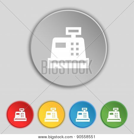 Cash Register Icon Sign. Symbol On Five Flat Buttons. Vector