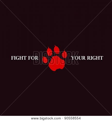 Lion paw hand drawn. Vector background. Vector illustration