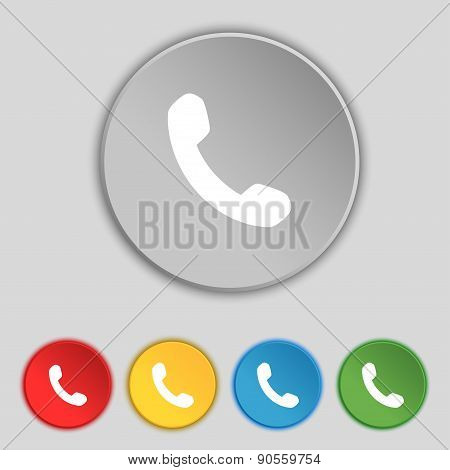 Phone, Support, Call Center Icon Sign. Symbol On Five Flat Buttons. Vector