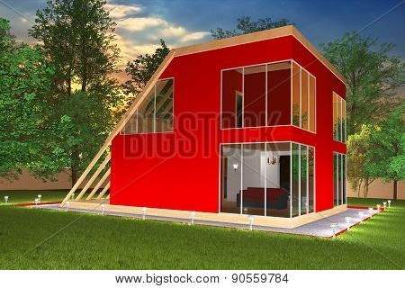 Modern red cottage in the evening2