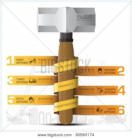 Business Property And Real Estate Construction Infographic With Hammer And Spiral Tag Diagram