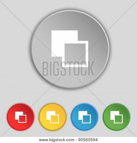 Active Color Toolbar Icon Sign. Symbol On Five Flat Buttons. Vector