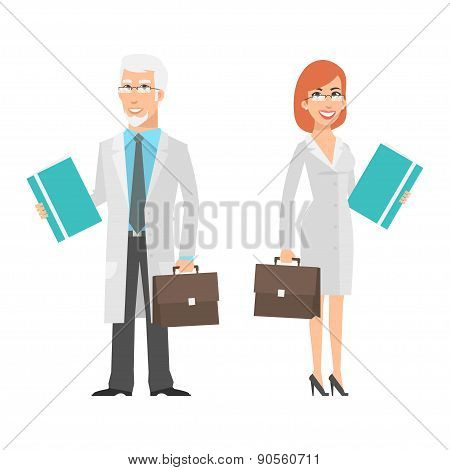 Elderly scientist and young woman holding suitcase