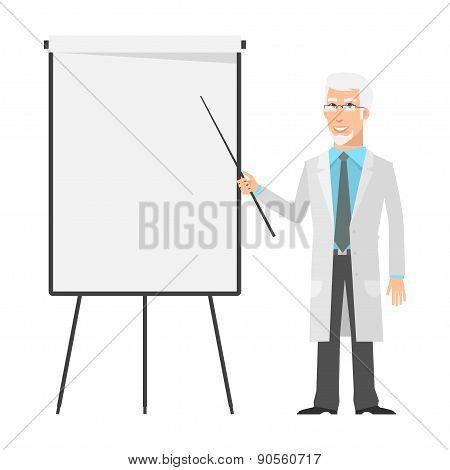 Elderly scientist points to flip chart