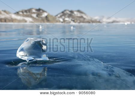 Piece Of Ice On The Frozen Lake