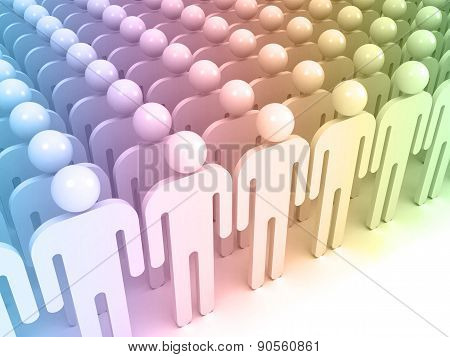 Schematic Colorful Abstract People Standing