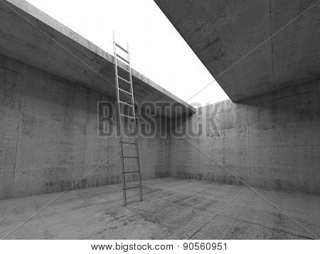 Metal Ladder Goes Up From Dark Concrete Room