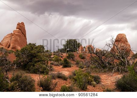 Rain Streaks Clouds Rock Formations Utah Juniper Trees