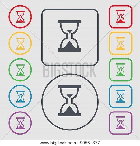 Hourglass, Sand Timer Icon Sign. Symbol On The Round And Square Buttons With Frame. Vector