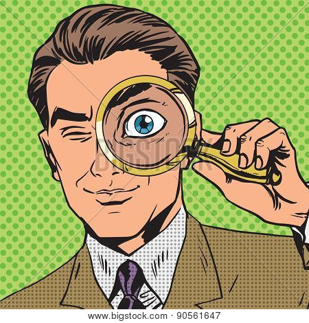 The man is a detective looking through magnifying glass search p