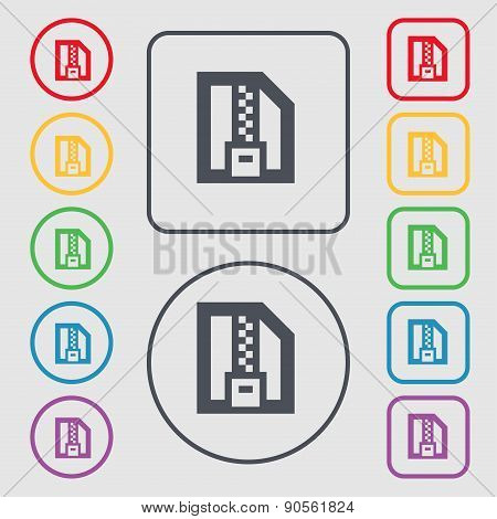 Archive File, Download Compressed, Zip Zipped Icon Sign. Symbol On The Round And Square Buttons With