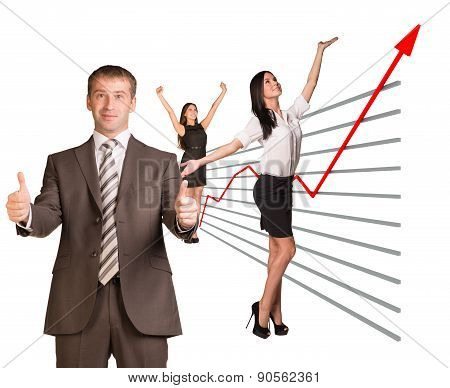 Business people and graphical chart