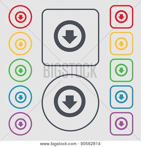Arrow Down, Download, Load, Backup Icon Sign. Symbol On The Round And Square Buttons With Frame. Vec