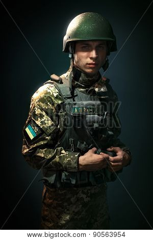a young soldier of the Ukrainian army