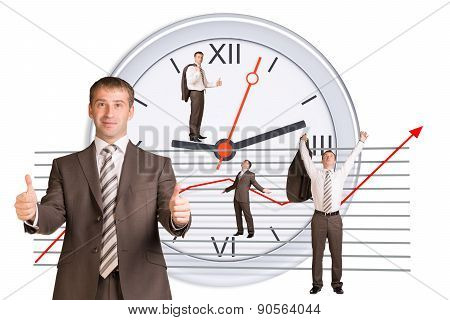 Businessman in different postures