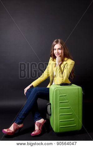 Pretty Woman Traveling With Suitcase