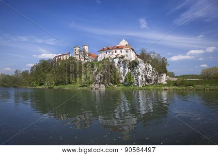 Ancient polish castle view by the river with reflection, Poland, Europe