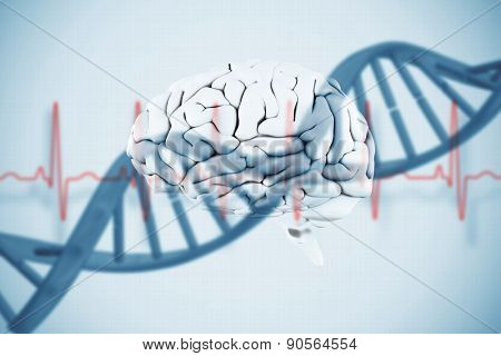 brain against blue medical background with dna and ecg