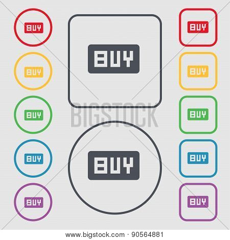Buy, Online Buying Dollar Usd  Icon Sign. Symbol On The Round And Square Buttons With Frame. Vector