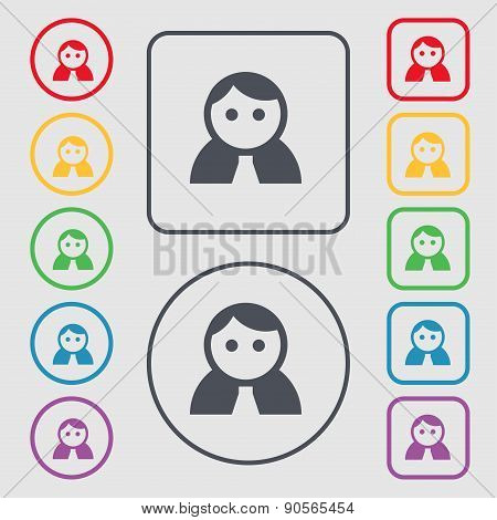 Female, Woman Human, Women Toilet, User, Login Icon Sign. Symbol On The Round And Square Buttons Wit