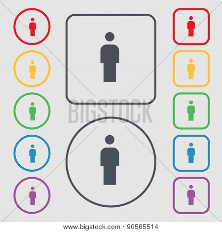 Human, Man Person, Male Toilet Icon Sign. Symbol On The Round And Square Buttons With Frame. Vector