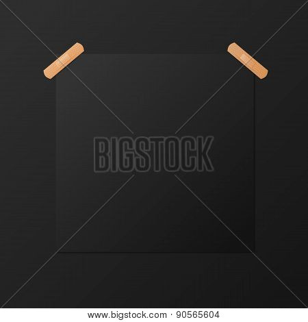Black blank square poster mock-up, vector template