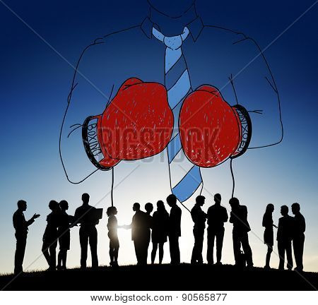 Businessman Boxing Competition Fighting Sport Aggressive Concept