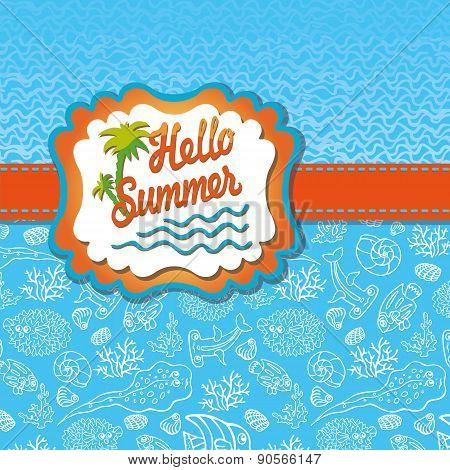 Summer design template.Funny Sea Life,Sun label,wave