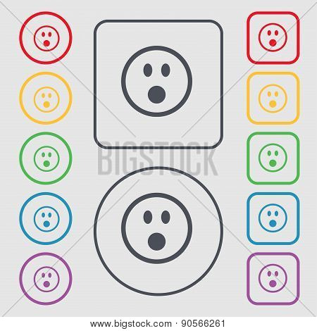 Shocked Face Smiley Icon Sign. Symbol On The Round And Square Buttons With Frame. Vector