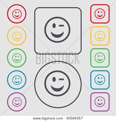 Winking Face Icon Sign. Symbol On The Round And Square Buttons With Frame. Vector