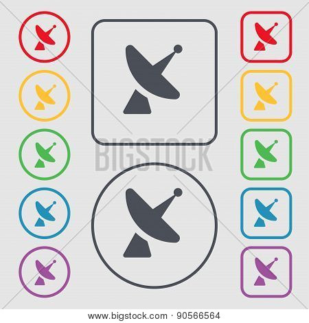 Satellite Dish Icon Sign. Symbol On The Round And Square Buttons With Frame. Vector