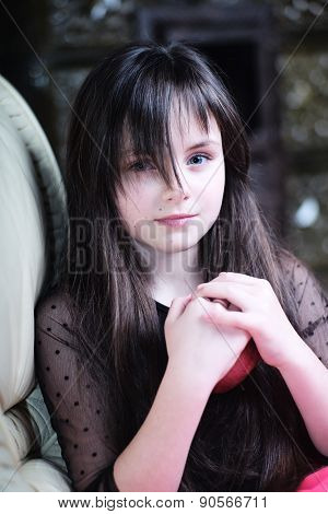 Pretty Thoughtful Little Girl